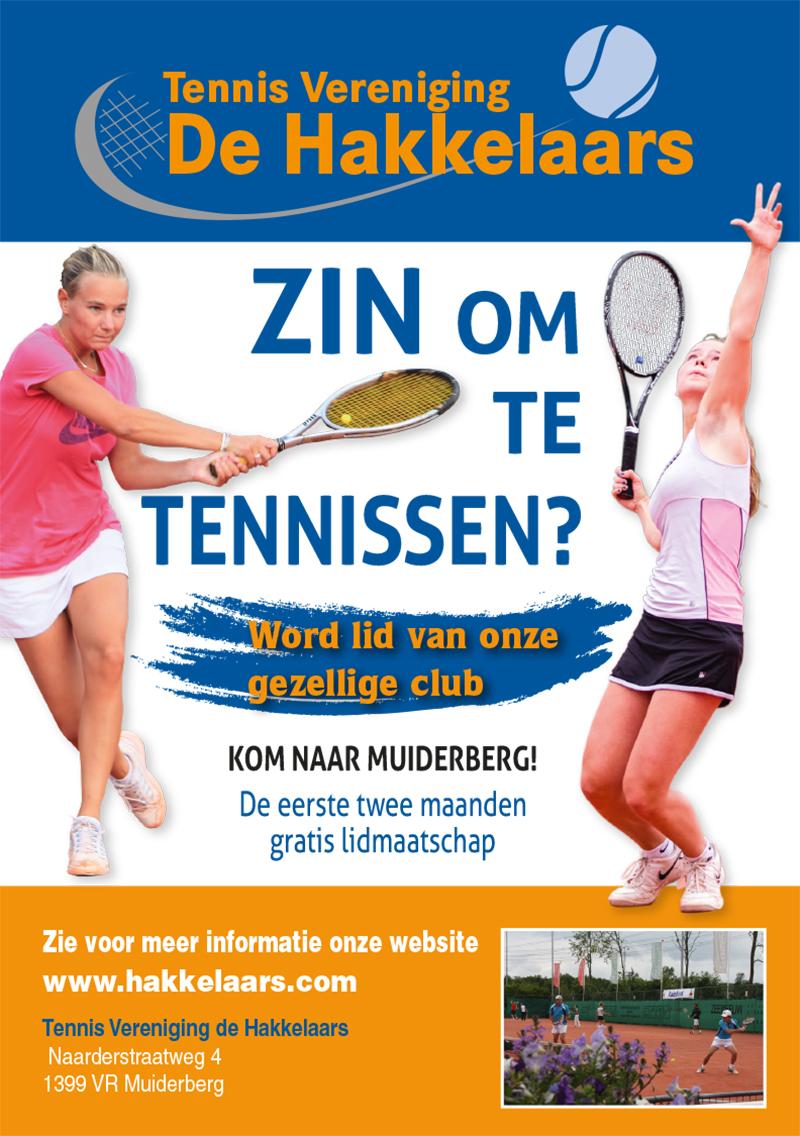 Flyer voor Tennis vereniging de Hakkelaars